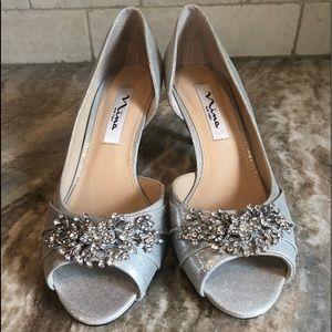 Nina Women's Cyrene Peep Toe True Silver Size 7 M